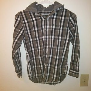 Arizona Boys Size 10 12 Plaid Flannel with Hoodie